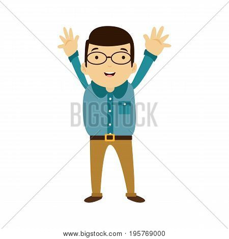 Flat style modern business Employees with glaesses in green casual clothes. Vector icon set. Smile Men lifestyle icon.