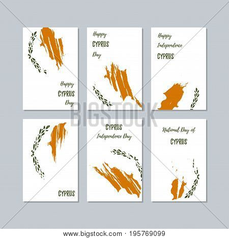 Cyprus Patriotic Cards For National Day. Expressive Brush Stroke In National Flag Colors On White Ca