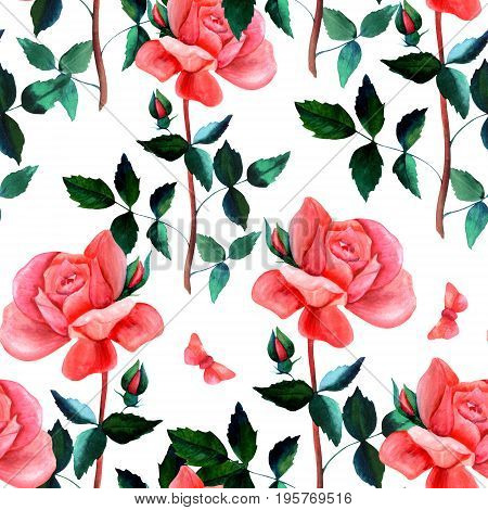 A seamless background pattern with a watercolor drawing of a red rose flower and a butterfly, on white, hand painted in the style of vintage botanical art. A romantic botanical repeat print