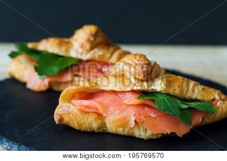 Sandwiches with croissant smoked salmon and parsley on black slate board. Appetizer with redfish. Breakfast meal