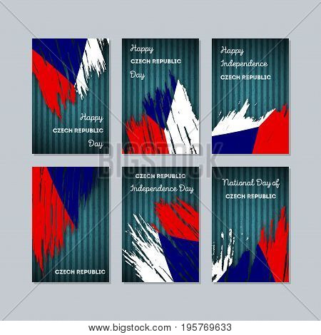 Czech Republic Patriotic Cards For National Day. Expressive Brush Stroke In National Flag Colors On
