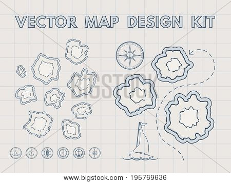 Treasure map with islands. Vector design kit for game interface. Retro style