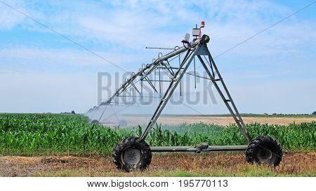 Modern sprinkler irrigation system on agriculture field