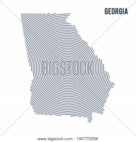 Vector Abstract Hatched Map Of State Of Georgia With Spiral Lines Isolated On A White Background.