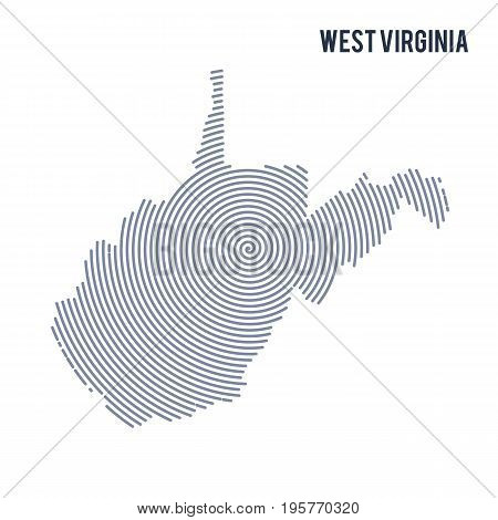 Vector Abstract Hatched Map Of State Of West Virginia With Spiral Lines Isolated On A White Backgrou
