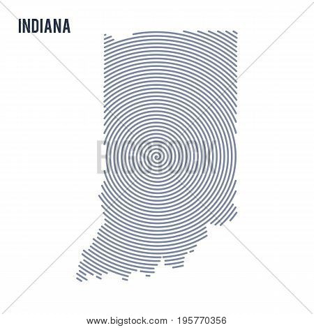 Vector Abstract Hatched Map Of State Of Indiana With Spiral Lines Isolated On A White Background.