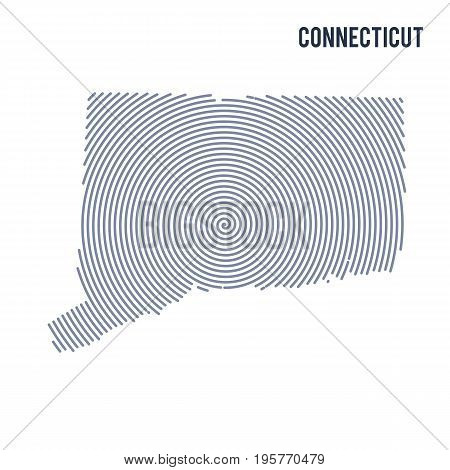 Vector Abstract Hatched Map Of State Of Connecticut With Spiral Lines Isolated On A White Background