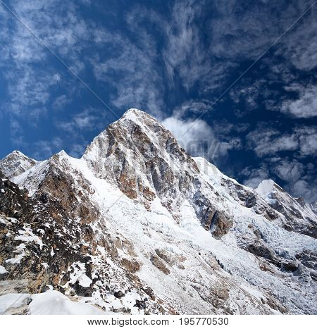 Mount Pumori (Pumo Ri 7161 m) in Everest region, Sagarmatha National Park in the Nepal Himalaya. Pumori lies just eight kilometres west of Mount Everest