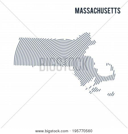 Vector Abstract Hatched Map Of State Of Massachusetts With Spiral Lines Isolated On A White Backgrou