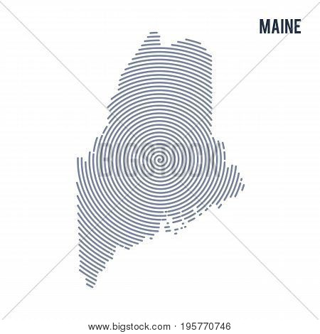 Vector Abstract Hatched Map Of State Of Maine With Spiral Lines Isolated On A White Background.