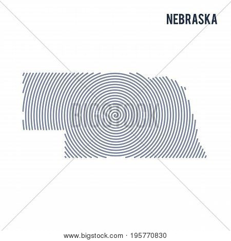 Vector Abstract Hatched Map Of State Of Nebraska With Spiral Lines Isolated On A White Background.