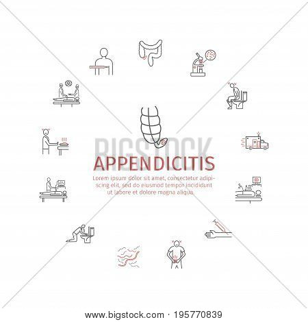 Appendicitis. Symptoms, Treatment. Line icons set. Vector signs for web graphics