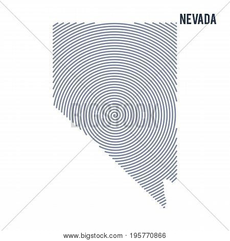 Vector Abstract Hatched Map Of State Of Nevada With Spiral Lines Isolated On A White Background.