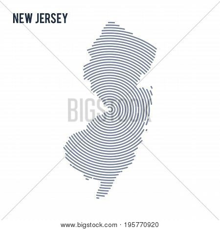 Vector Abstract Hatched Map Of State Of New Jersey With Spiral Lines Isolated On A White Background.