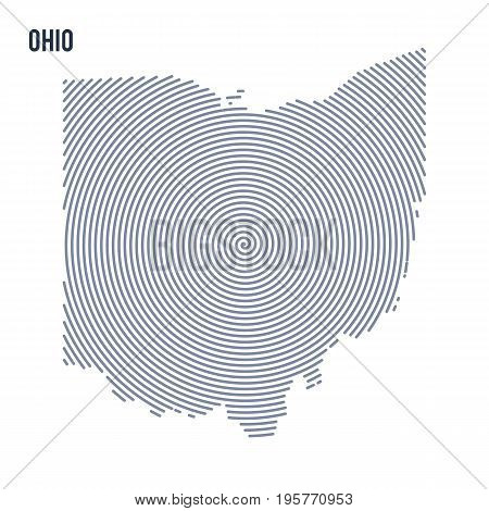 Vector Abstract Hatched Map Of State Of Ohio With Spiral Lines Isolated On A White Background.