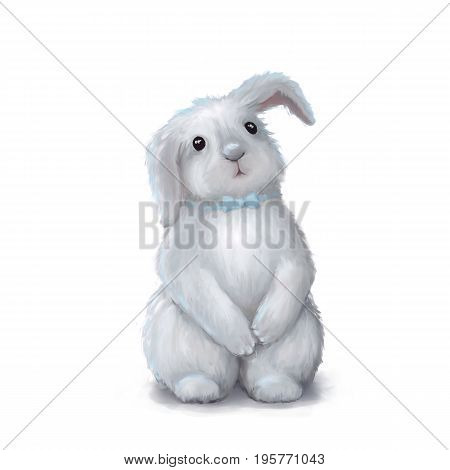 Cute white easter bunny rabbit boy with blue tie isolated on white