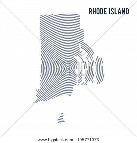 Vector Abstract Hatched Map Of State Of Rhode Island With Spiral Lines Isolated On A White Backgroun
