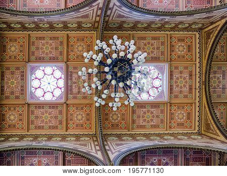 BUDAPEST HUNGARY - MAY 7: Chandelier in Great jewish synagogue - biggest in europe on May 7 2017 in Budapest