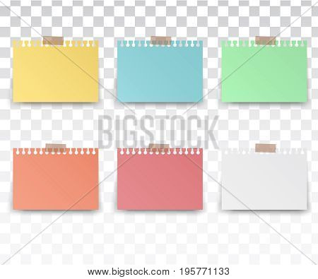 color stickers square. Blank sticky notes set. Sticky reminder notes realistic colored paper sheets office papers with shadow