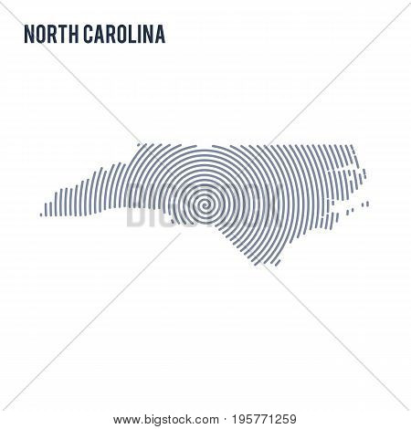 Vector Abstract Hatched Map Of State Of North Carolina With Spiral Lines Isolated On A White Backgro