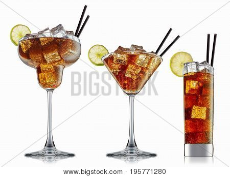 fresh fruit alcohol cocktail or soda mocktail with ice cubes in classic glass with cola beverage isolated on white background