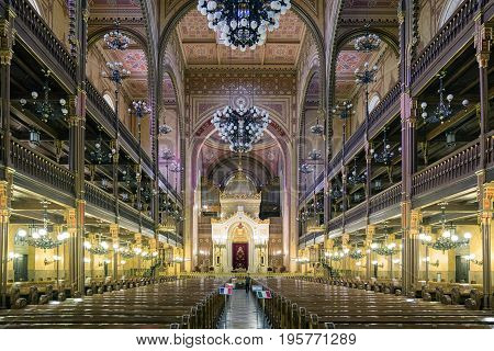 BUDAPEST HUNGARY - MAY 7: Great jewish synagogue - biggest in europe on May 7 2017 in Budapest