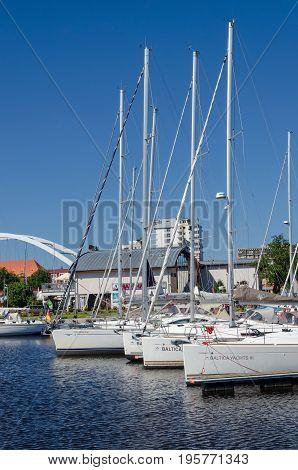 KOLOBRZEG, WEST POMERANIAN / POLAND - 2017: Boats and yachts moored in the marina