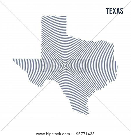 Vector Abstract Hatched Map Of State Of Texas With Spiral Lines Isolated On A White Background.