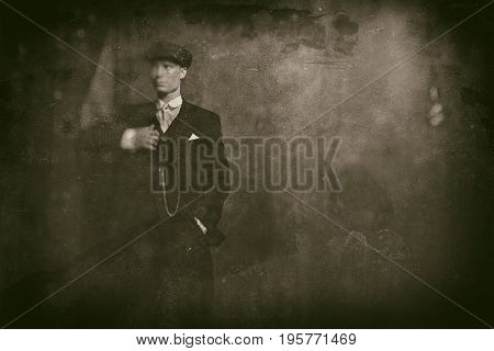 Antique Wet Plate Photo Of 1920S English Gangster Wearing Suit And Flat Cap.