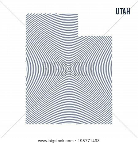 Vector Abstract Hatched Map Of State Of Utah With Spiral Lines Isolated On A White Background.