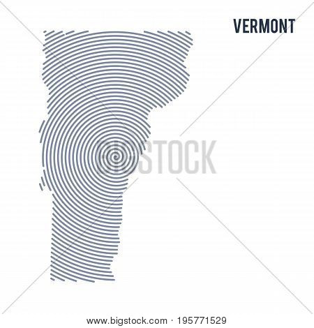 Vector Abstract Hatched Map Of State Of Vermont With Spiral Lines Isolated On A White Background.