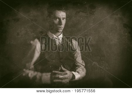 Antique Wet Plate Photo Of Threatening 1920S English Gangster Sitting With Gun.