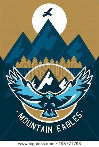 Vector illustration on the theme of extreme sport and mountain biking. Landscape, forest, fresh air. The invitation to the event. Hawk flying in the mountains. Wild animal, large wingspan. Downhill.