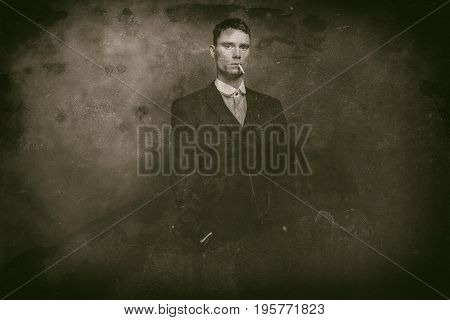 Antique Wet Plate Photo Of 1920S English Gangster Smoking Cigarette.