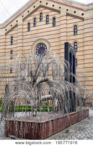 BUDAPEST HUNGARY - MAY 7: Weeping willow memorial in Great synagogue on May 7 2017 in Budapest