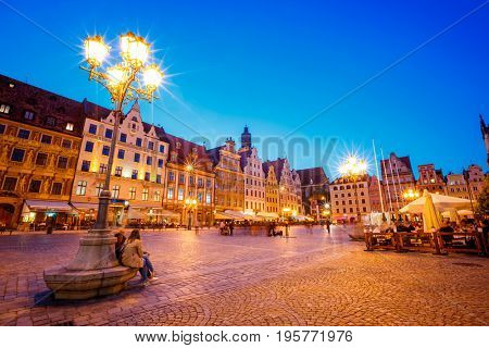 Stunning image of ancient city. Location place Wroclaw Market Square, Poland country, famous and cultural center of Europe. Historical capital of Silesia. Popular tourist attraction. Beauty world.