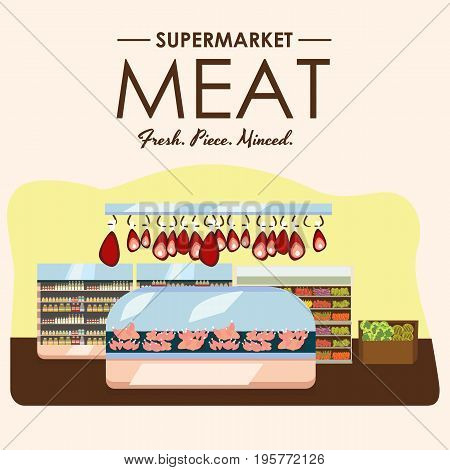 meat department, pork shelf with fresh beef and steak food in supermarket fridge, big choice of organic farm products sale in food shop interior, store with sausage vector illustration.