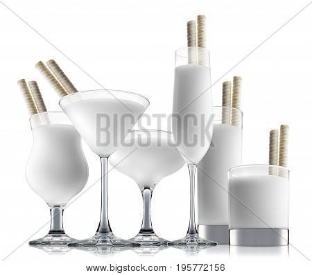 Pina colada or white russian cocktail or mocktail in classic glass isolated on white background