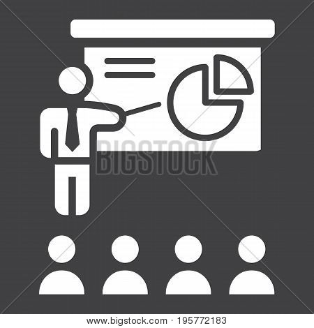 Training presentation solid icon, business and teacher, vector graphics, a glyph pattern on a black background, eps 10.