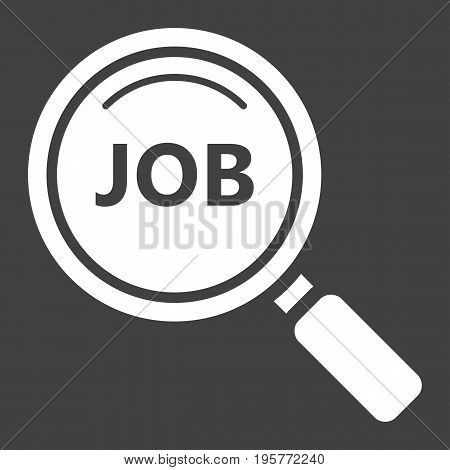 Search job solid icon, business and magnifying, vector graphics, a glyph pattern on a black background, eps 10.
