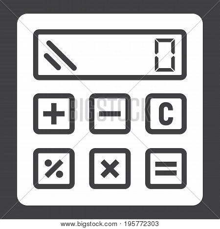 Calculate solid icon, business and calculator, vector graphics, a glyph pattern on a black background, eps 10.
