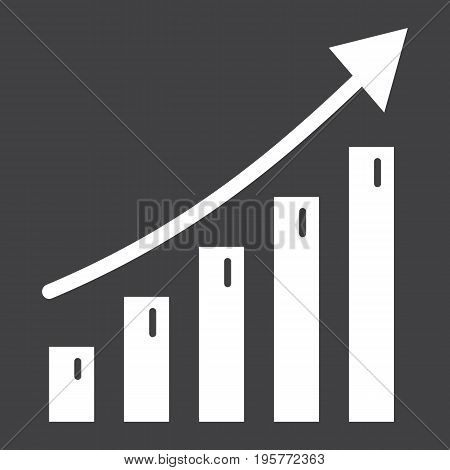 Business growth solid icon, business and financial, vector graphics, a glyph pattern on a black background, eps 10.