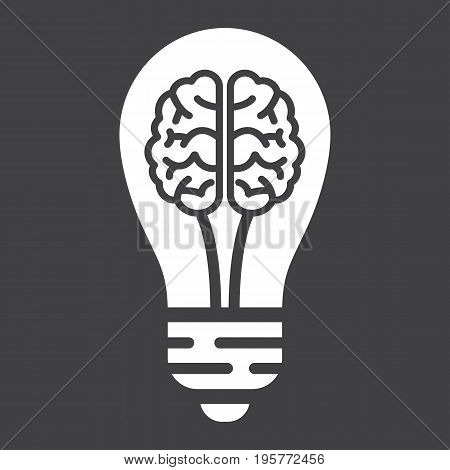 Business Idea solid icon, business and creativity, brain lamp vector graphics, a glyph pattern on a black background, eps 10.