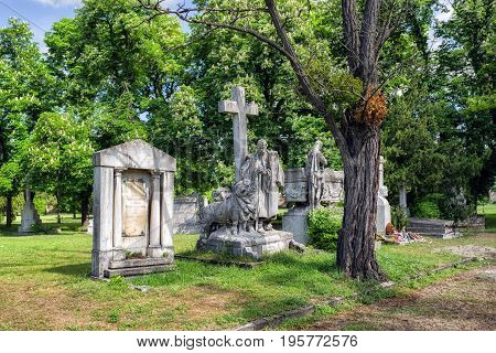 BUDAPEST HUNGARY - MAY 8: Kerepesi - historic cemetery on May 8 2017 in Budapest