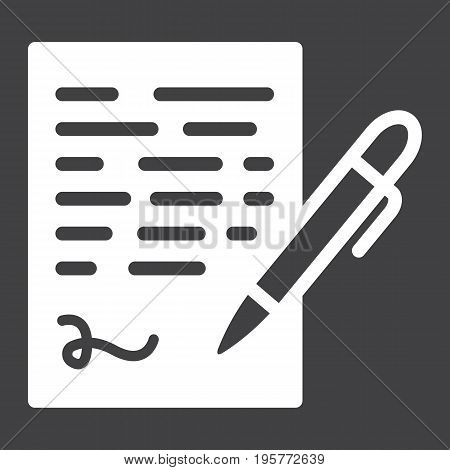 Pen signing solid icon, business contract and signature, vector graphics, a glyph pattern on a black background, eps 10.