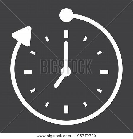 Overtime solid icon, business and clock, vector graphics, a glyph pattern on a black background, eps 10.