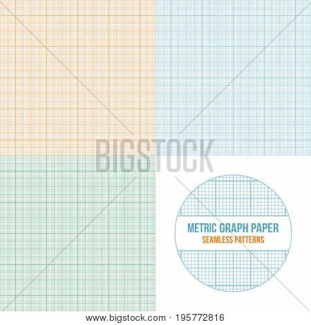 Vector metric graph paper seamless patterns set, 1mm grid accented every centimeter