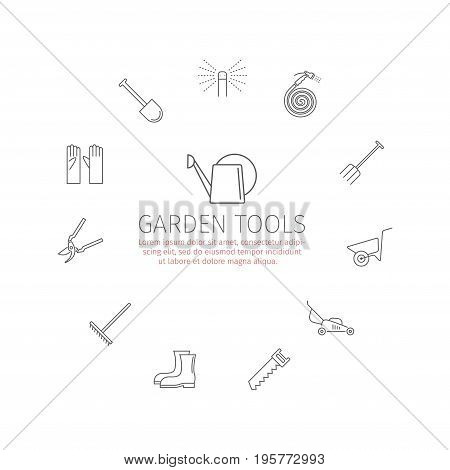 Garden tools icons set. Vector sign for web graphic.