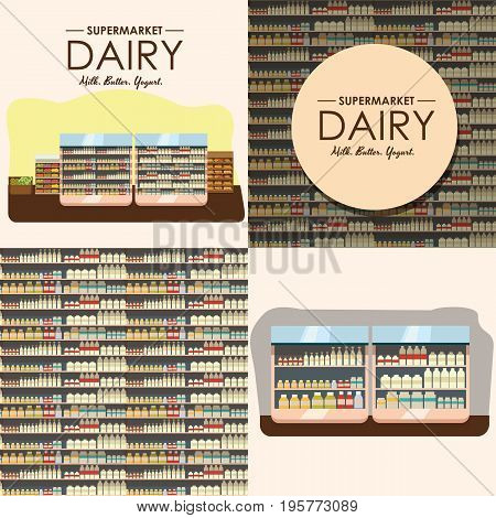 dairy department, milk shelf with fresh healthy food in supermarket, big choice of organic farm products sale in food shop interior, store with yogurt and cheese vector illustration.