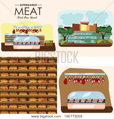 set of supermarket departments, fruit and milk food store, grocery row with vegetable products on shelfs in market, bread bakery shop interior vector illustration, meat and sausage in refrigerator.